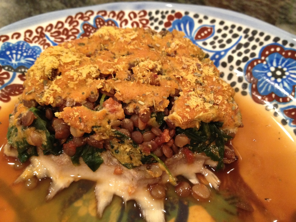 stuffed portobello with lentils and greens