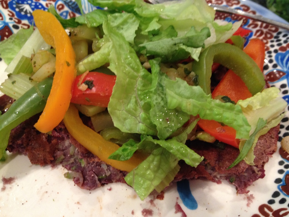blue corn pancake with fajita veggies